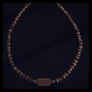 Necklace, amber stone and wood